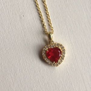 Jewelry - Ruby and white sapphire heart necklace